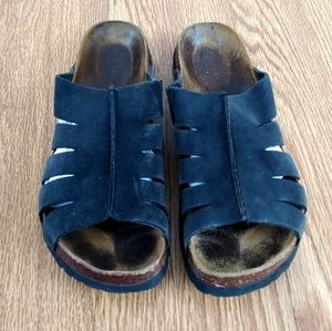 Birkenstock Betula Black Leather Slide on Sandal